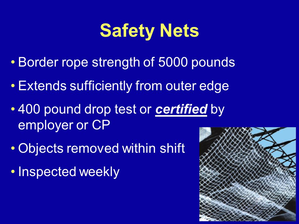 Safety Nets Border rope strength of 5000 pounds