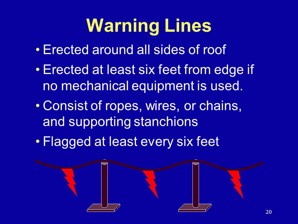 Warning Lines Erected around all sides of roof