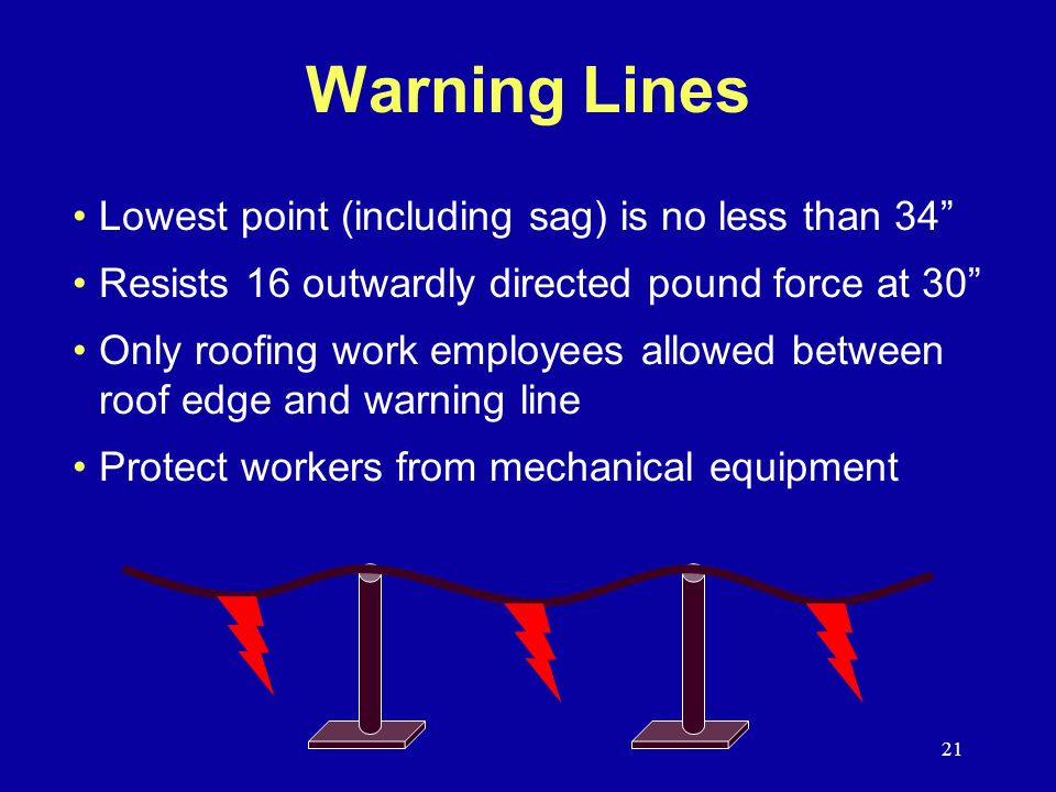 Warning Lines Lowest point (including sag) is no less than 34