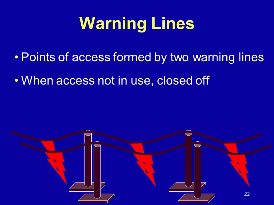 Warning Lines Points of access formed by two warning lines