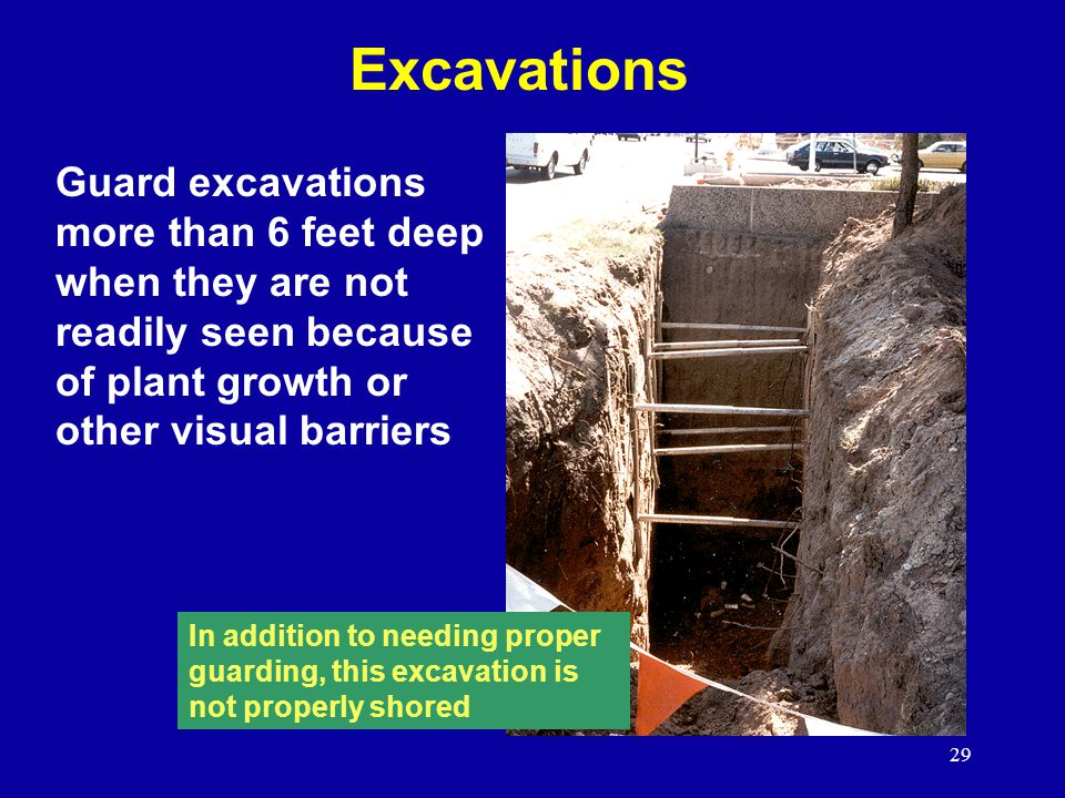 Excavations Guard excavations more than 6 feet deep when they are not readily seen because of plant growth or other visual barriers.