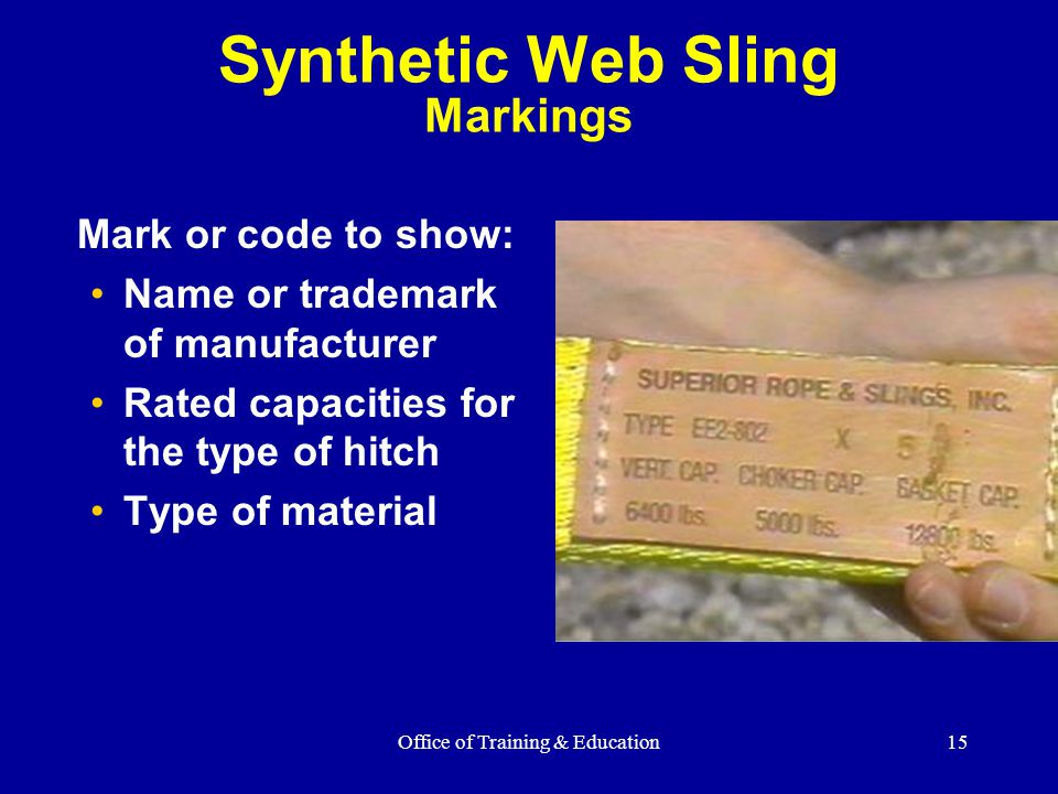 Synthetic Web Sling Markings