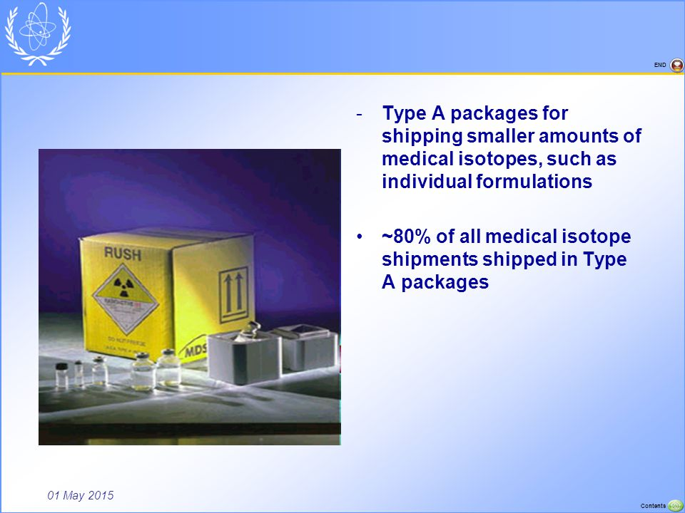 Type A packages for shipping smaller amounts of medical isotopes, such as individual formulations