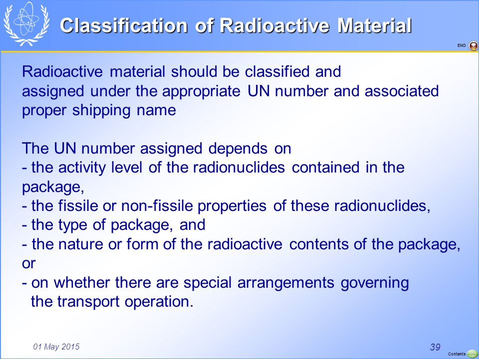 Classification of Radioactive Material