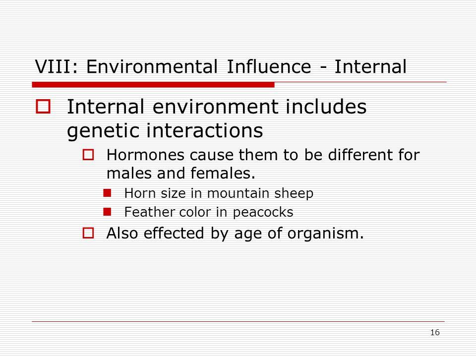 VIII: Environmental Influence - Internal
