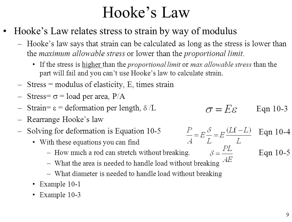 Hooke's Law Hooke's Law relates stress to strain by way of modulus