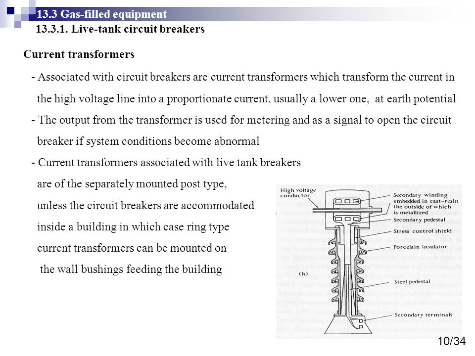 13.3 Gas-filled equipment 13.3.1. Live-tank circuit breakers. Current transformers.