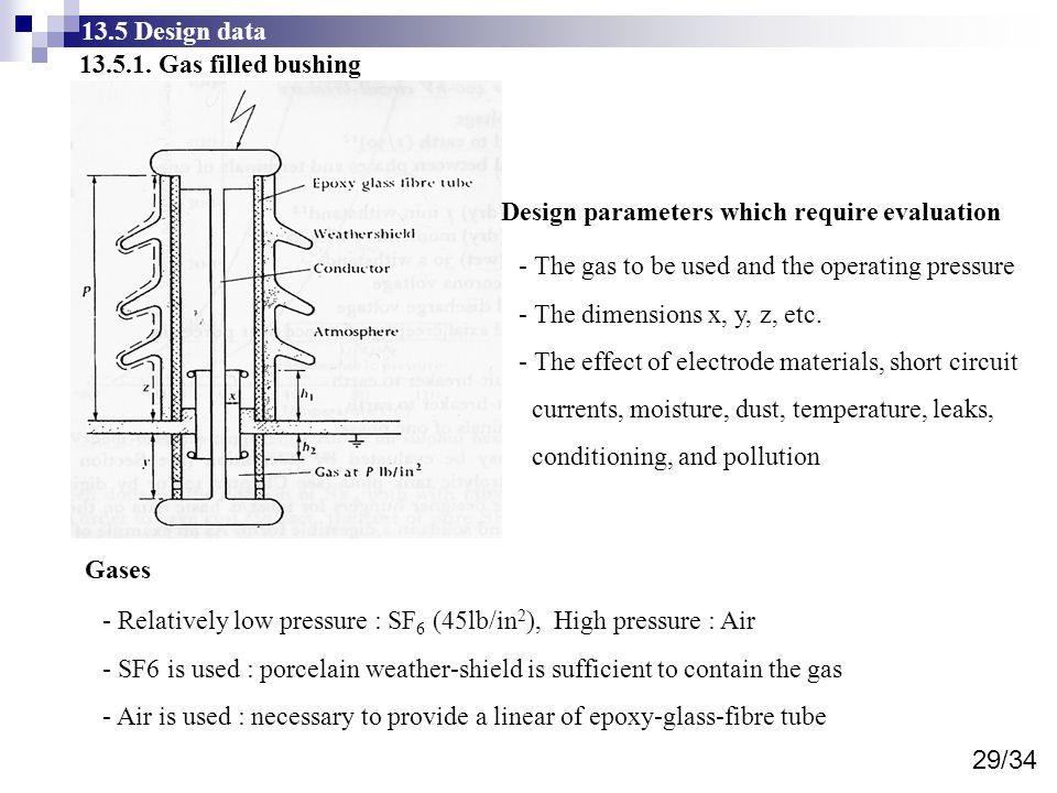 13.5 Design data 13.5.1. Gas filled bushing. Design parameters which require evaluation. - The gas to be used and the operating pressure.