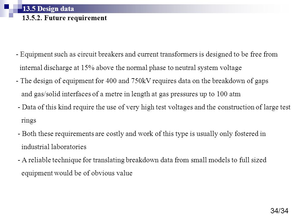 13.5 Design data 13.5.2. Future requirement. - Equipment such as circuit breakers and current transformers is designed to be free from.