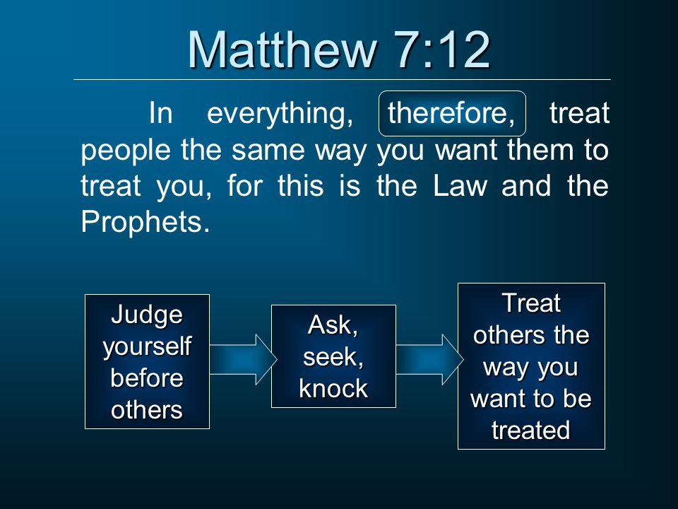 Matthew 7:12 In everything, therefore, treat people the same way you want them to treat you, for this is the Law and the Prophets.