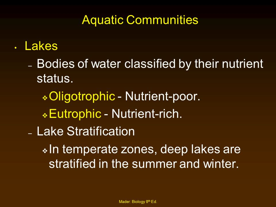 Bodies of water classified by their nutrient status.