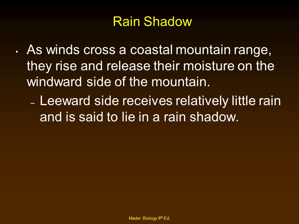 Rain Shadow As winds cross a coastal mountain range, they rise and release their moisture on the windward side of the mountain.