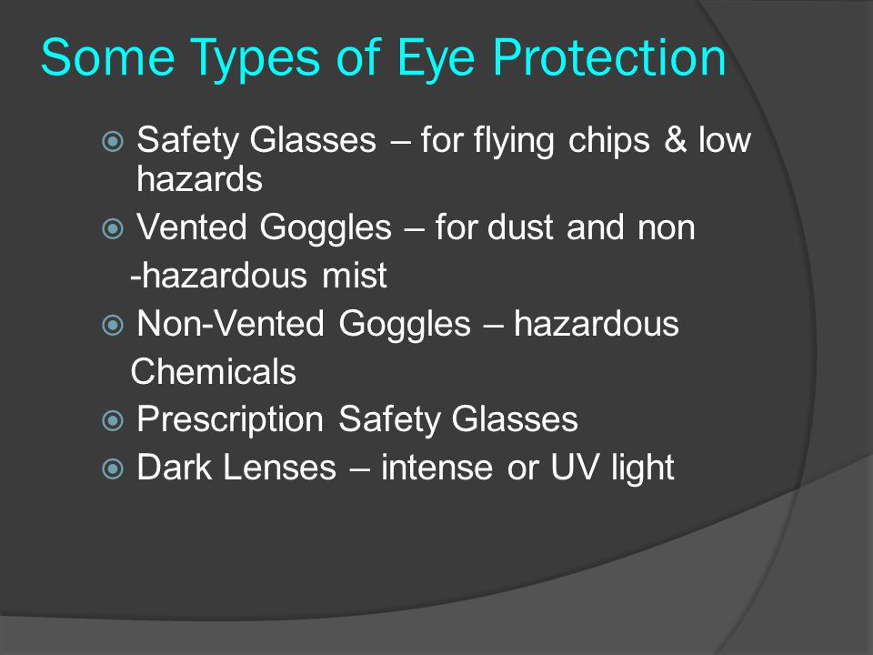 Some Types of Eye Protection