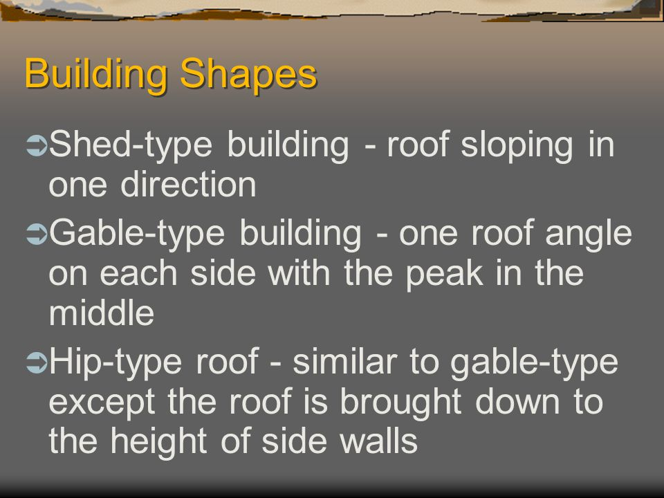 Building Shapes Shed-type building - roof sloping in one direction