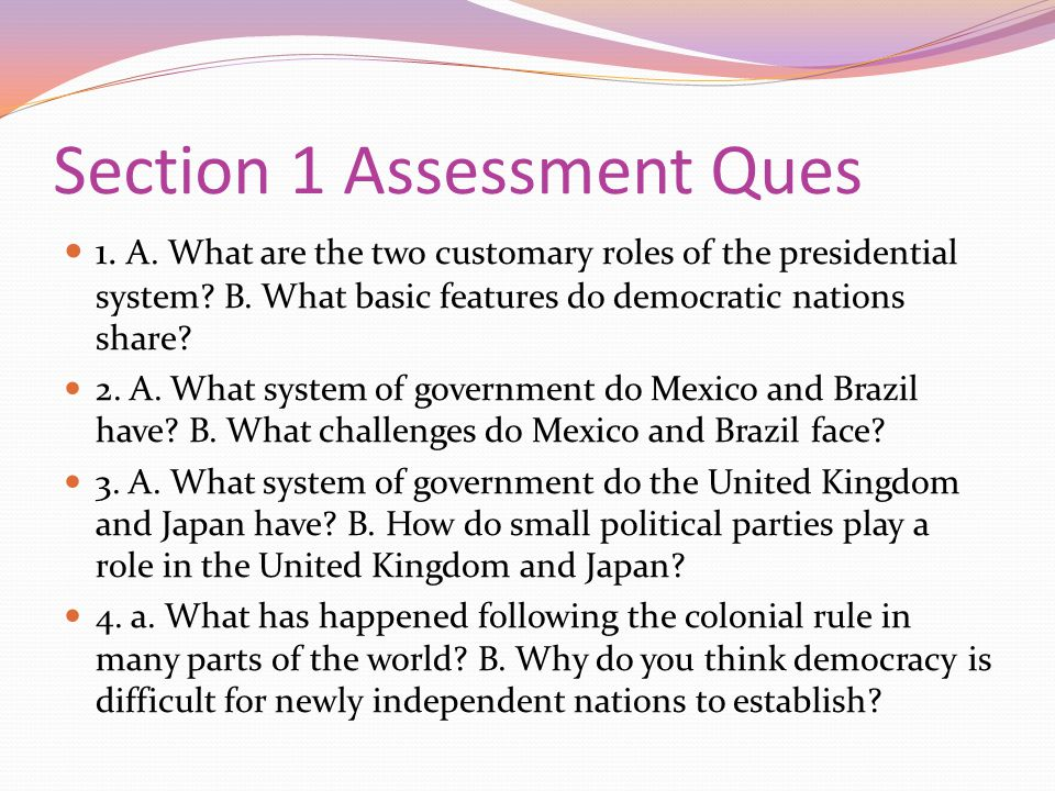 Section 1 Assessment Ques