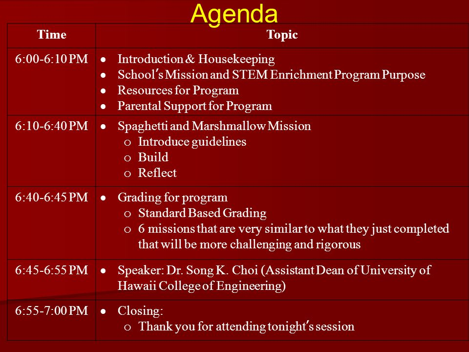 Agenda Time Topic 6:00-6:10 PM Introduction & Housekeeping