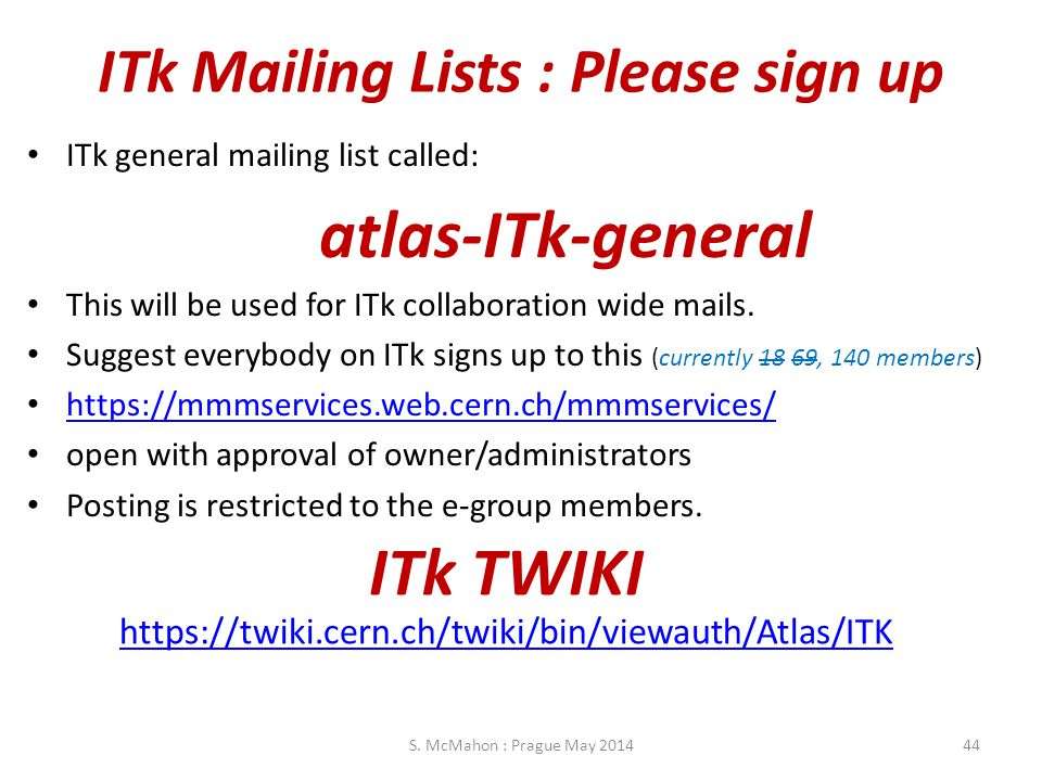 ITk Mailing Lists : Please sign up