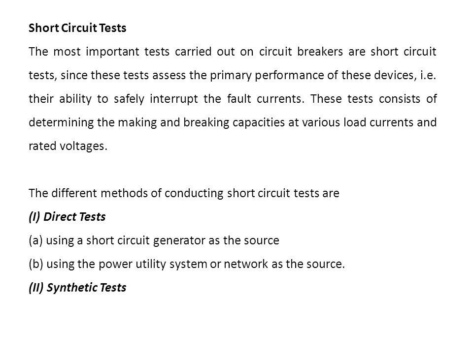 Short Circuit Tests