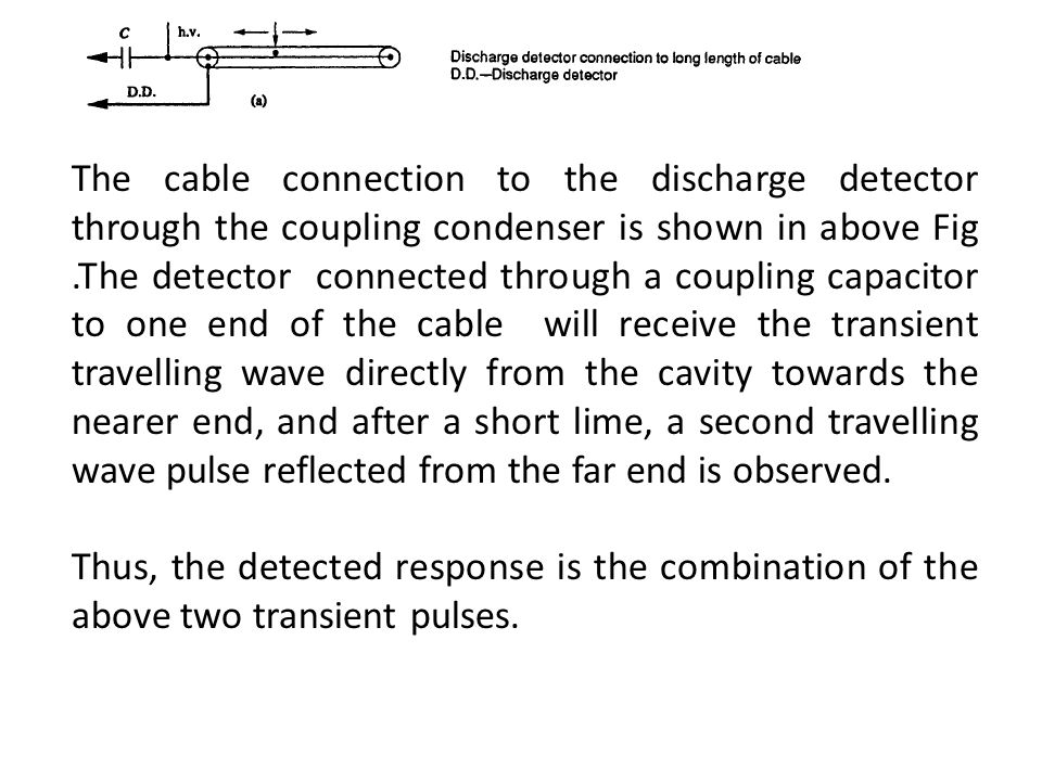 The cable connection to the discharge detector through the coupling condenser is shown in above Fig .The detector connected through a coupling capacitor to one end of the cable will receive the transient travelling wave directly from the cavity towards the nearer end, and after a short lime, a second travelling wave pulse reflected from the far end is observed.