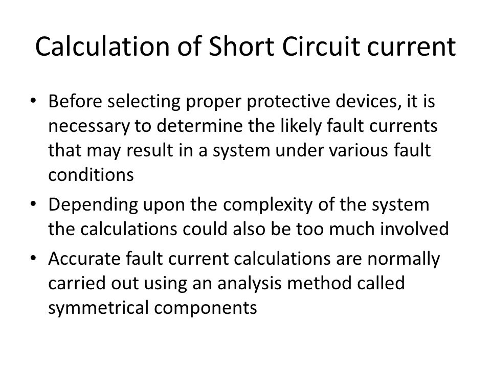 Calculation of Short Circuit current