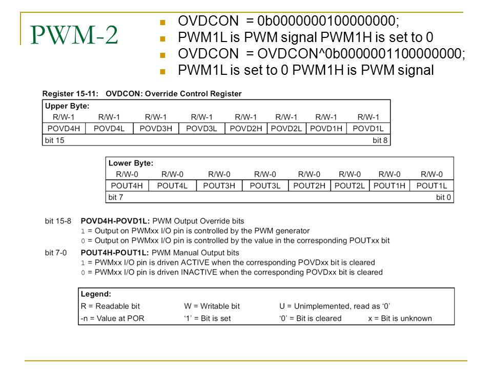 PWM-2 OVDCON = 0b0000000100000000; PWM1L is PWM signal PWM1H is set to 0. OVDCON = OVDCON^0b0000001100000000;