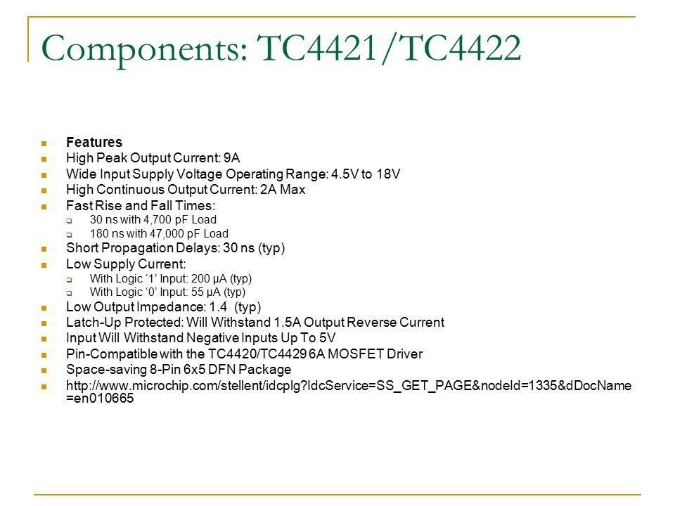 Components: TC4421/TC4422 Features High Peak Output Current: 9A