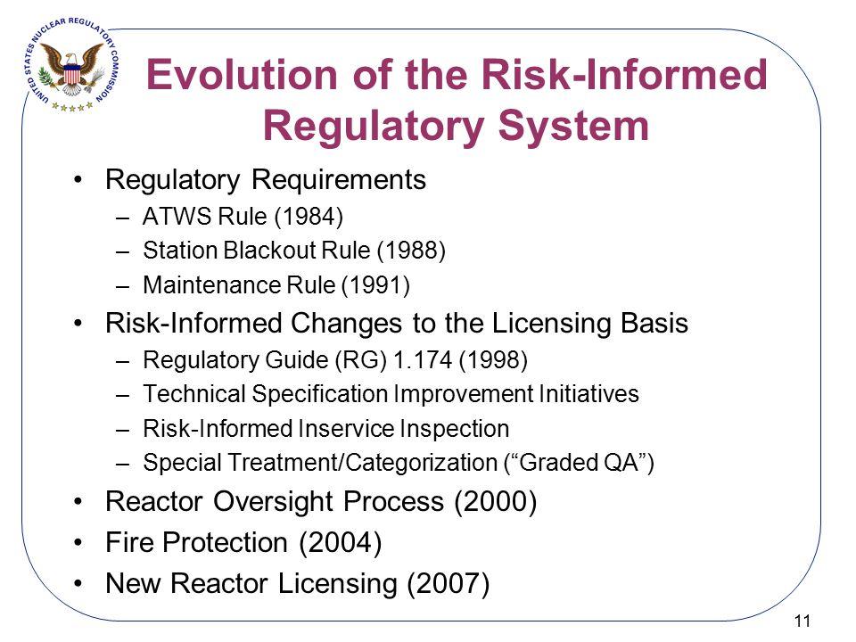 Evolution of the Risk-Informed Regulatory System