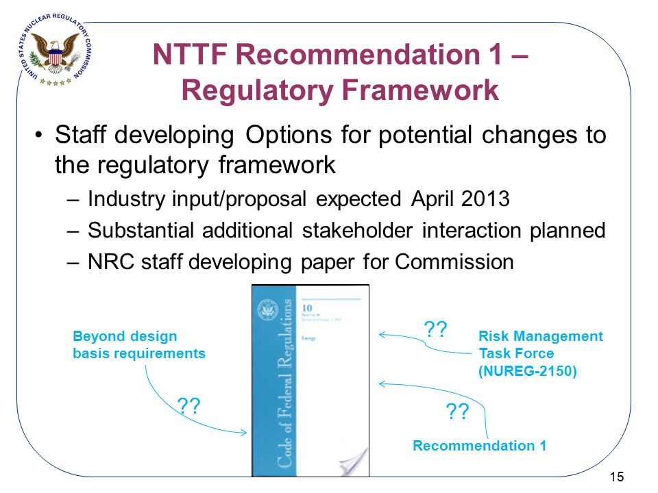 NTTF Recommendation 1 – Regulatory Framework