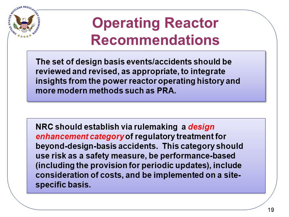 Operating Reactor Recommendations