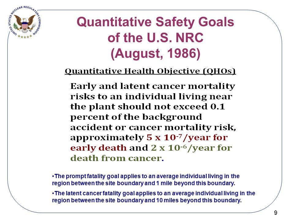 Quantitative Safety Goals of the U.S. NRC (August, 1986)