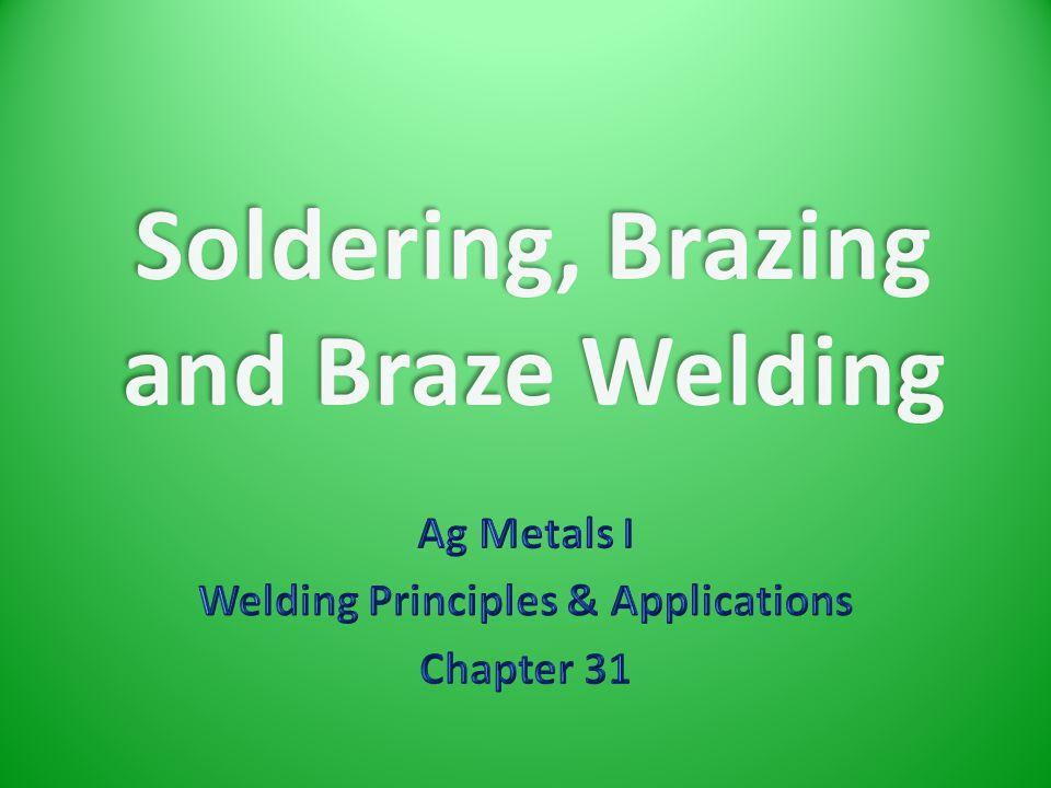 Soldering, Brazing and Braze Welding
