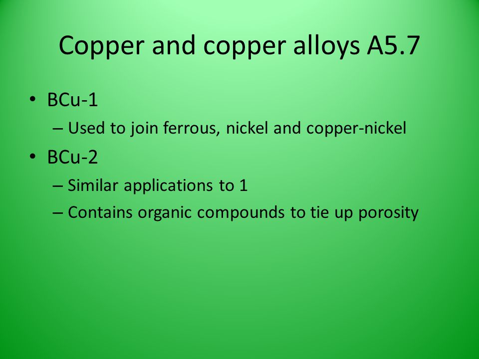 Copper and copper alloys A5.7