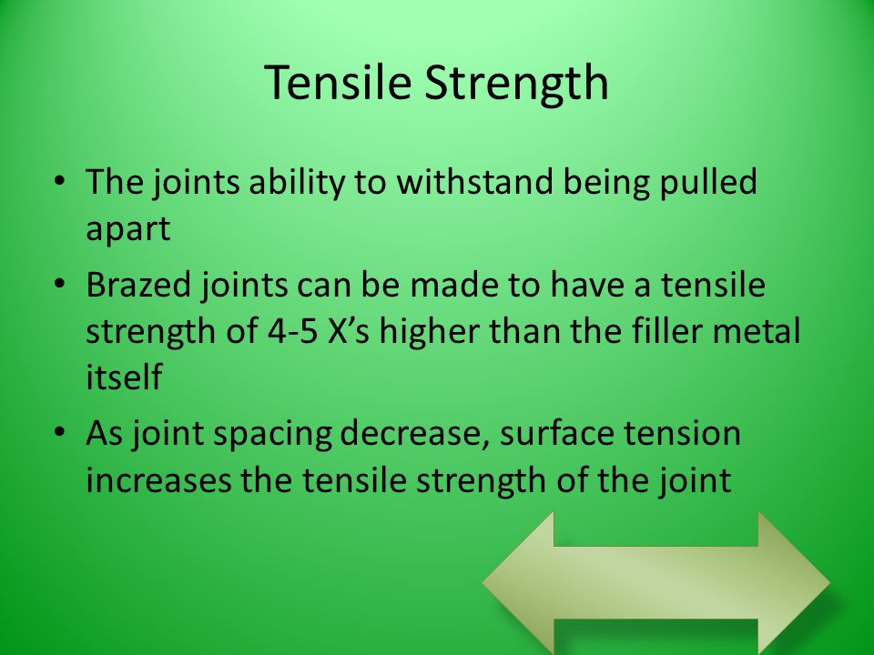 Tensile Strength The joints ability to withstand being pulled apart