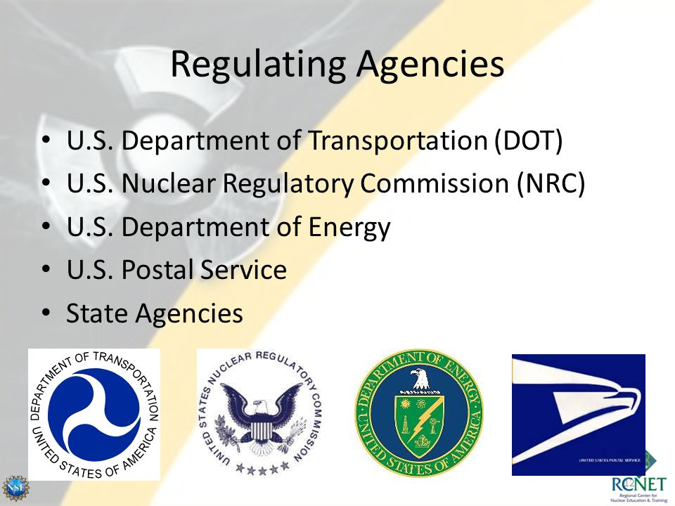 Regulating Agencies U.S. Department of Transportation (DOT)