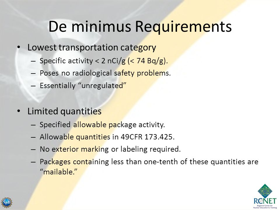 De minimus Requirements