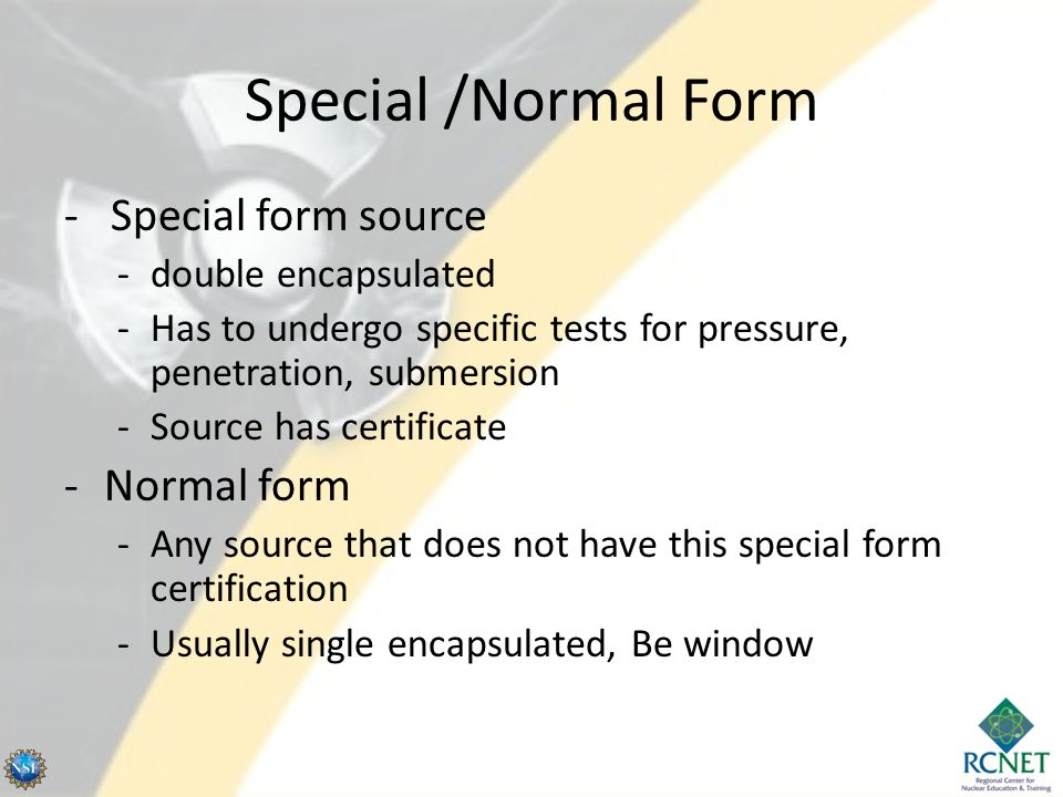 Special /Normal Form - Special form source Normal form