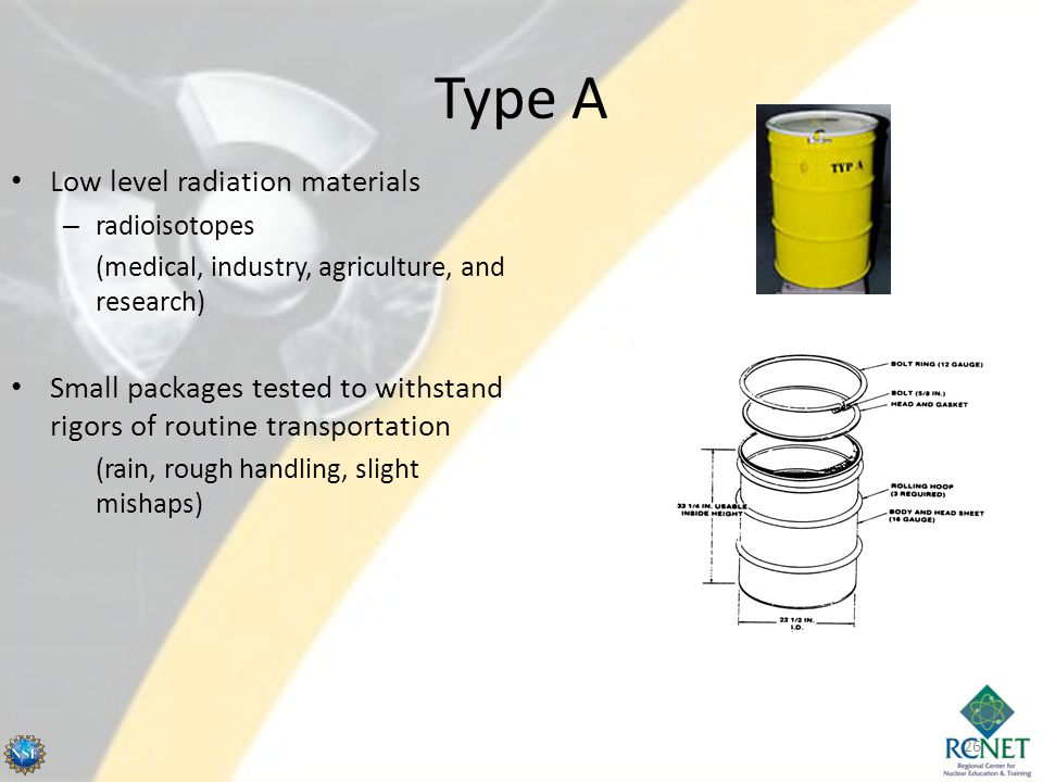 Type A Low level radiation materials