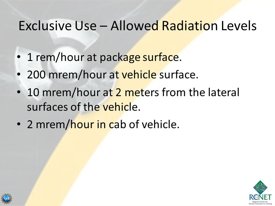 Exclusive Use – Allowed Radiation Levels