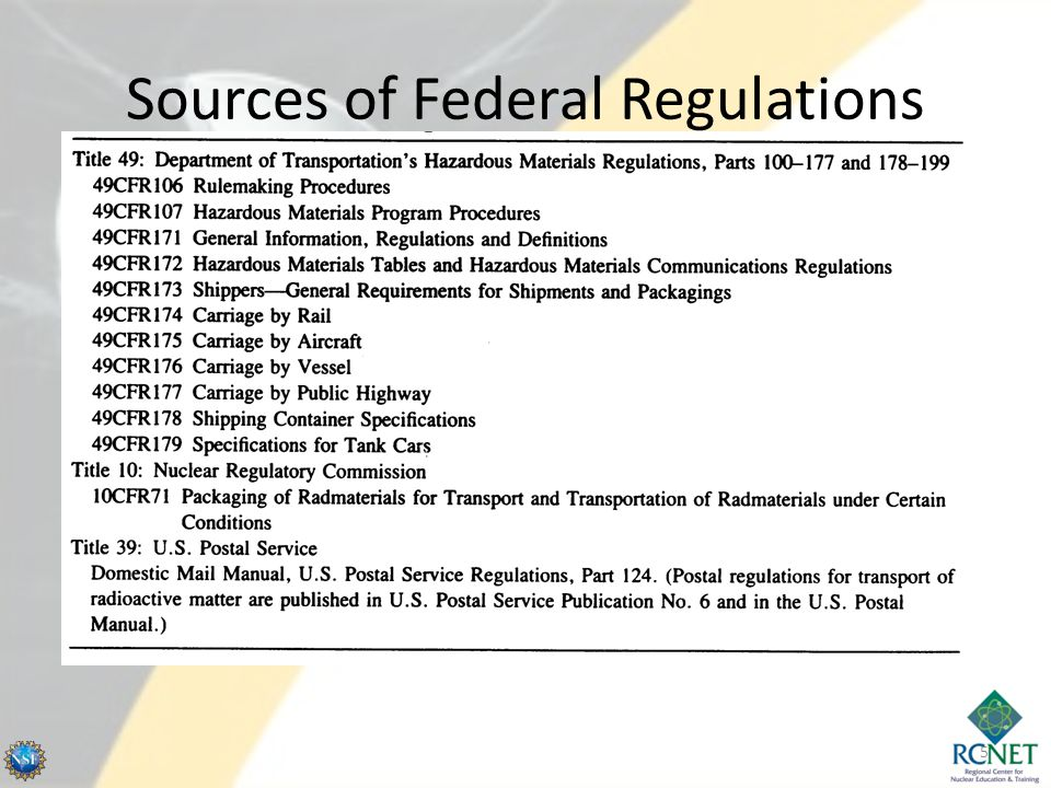 Sources of Federal Regulations