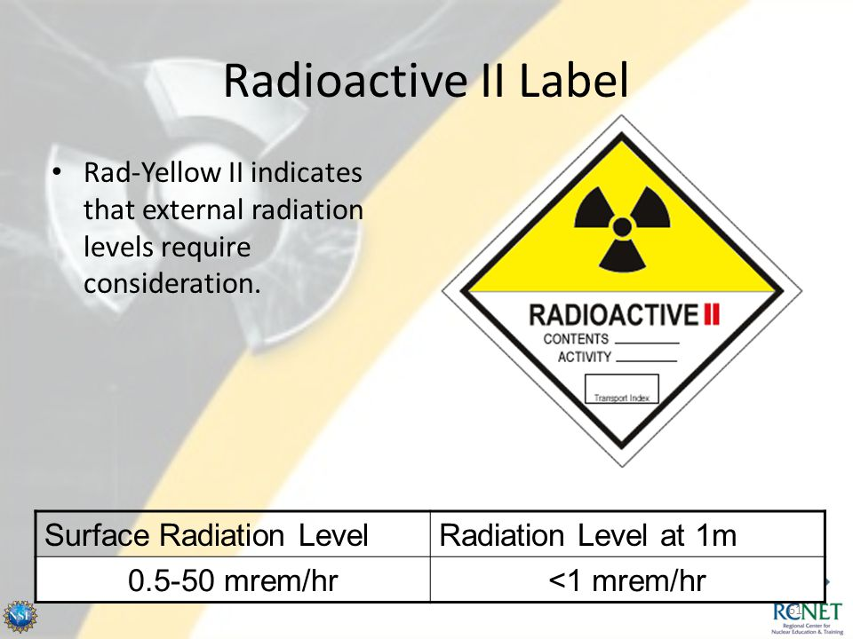 Radioactive II Label Rad-Yellow II indicates that external radiation levels require consideration. Surface Radiation Level.