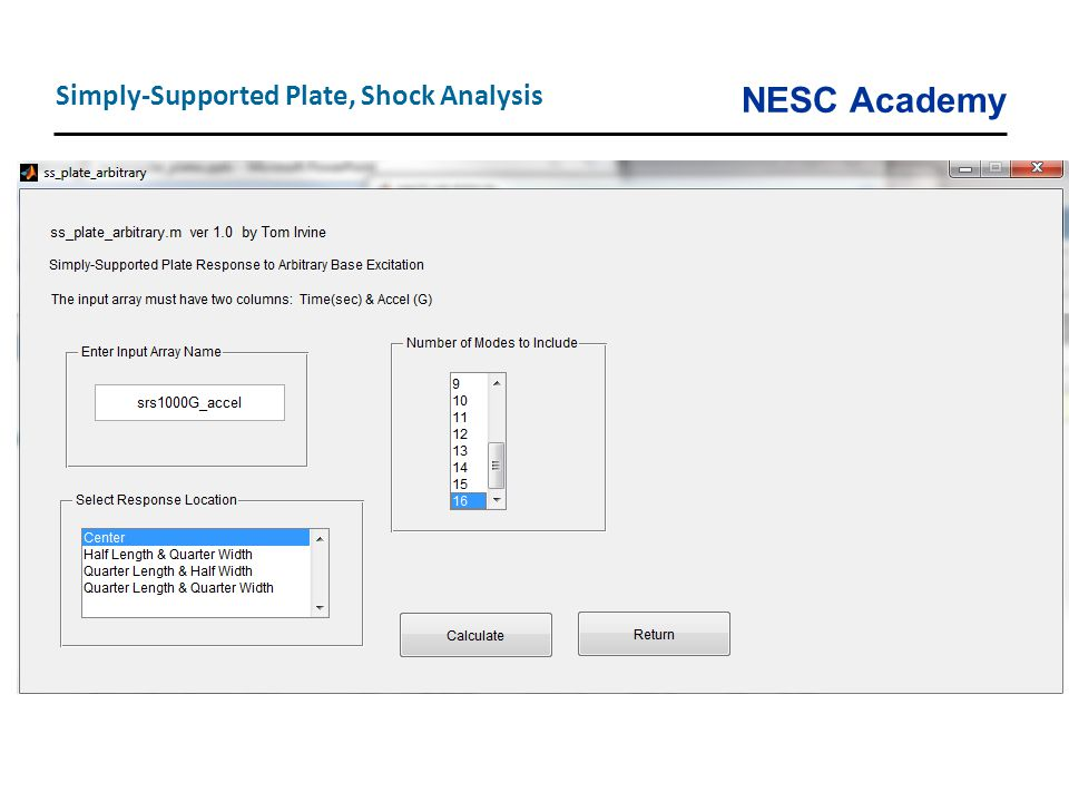 Simply-Supported Plate, Shock Analysis
