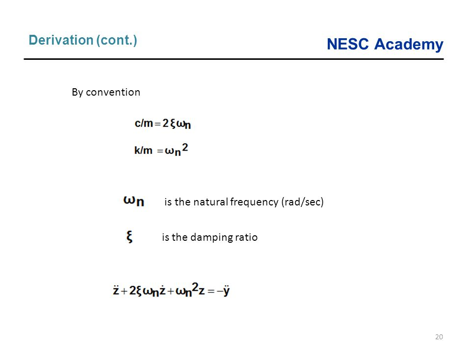 Derivation (cont.) By convention is the natural frequency (rad/sec)