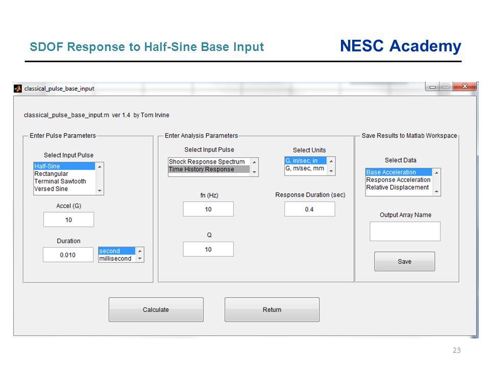 SDOF Response to Half-Sine Base Input
