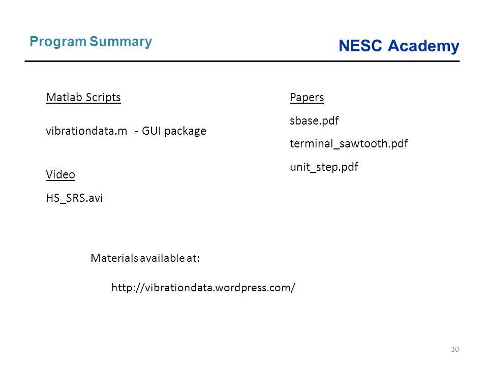 Program Summary Matlab Scripts vibrationdata.m - GUI package Video