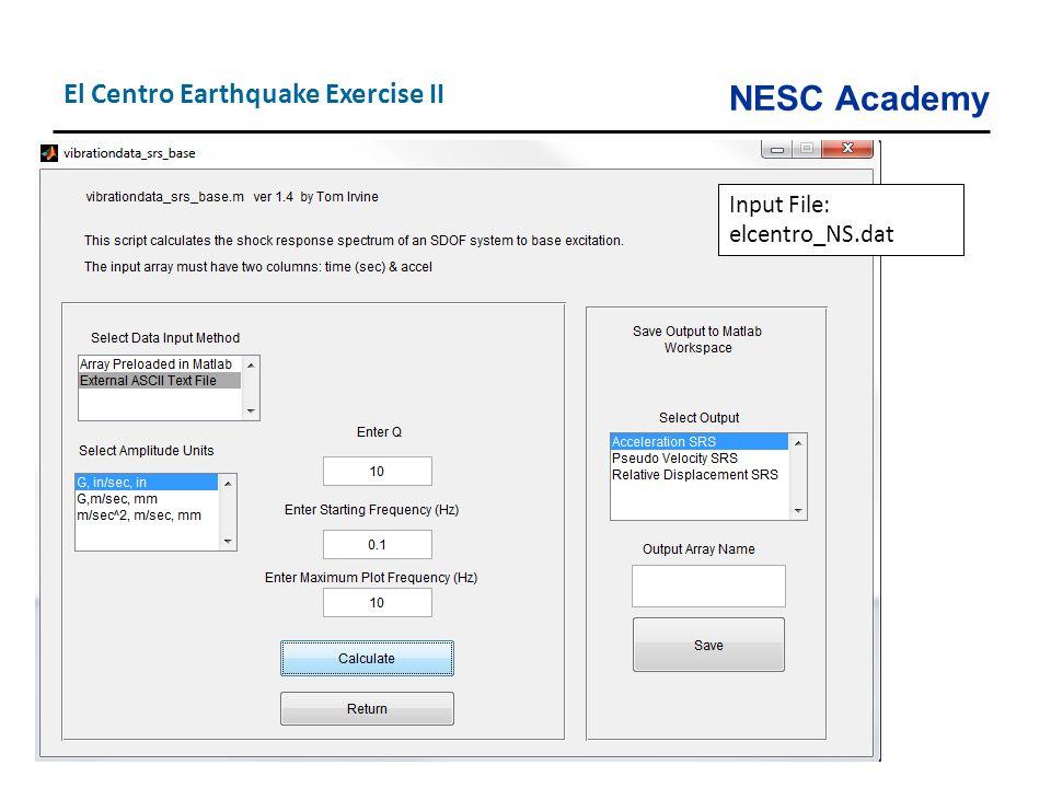 El Centro Earthquake Exercise II