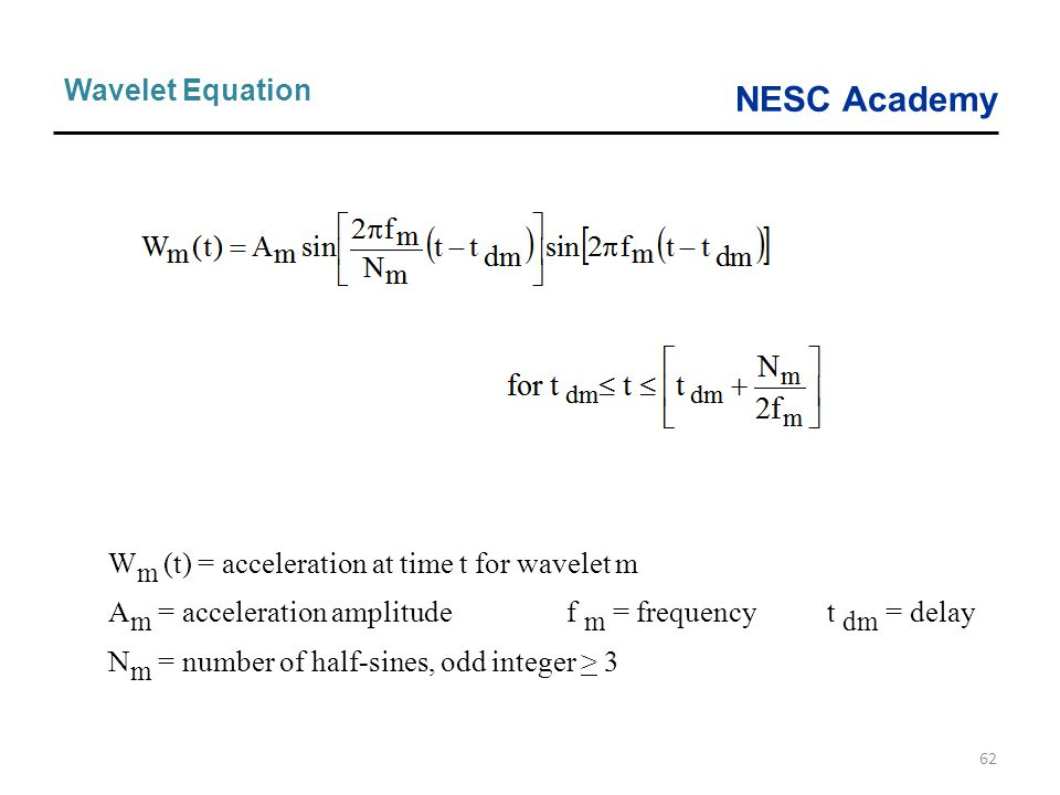 Wm (t) = acceleration at time t for wavelet m