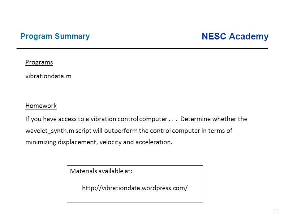 NESC Academy Program Summary