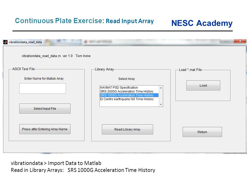 Continuous Plate Exercise: Read Input Array