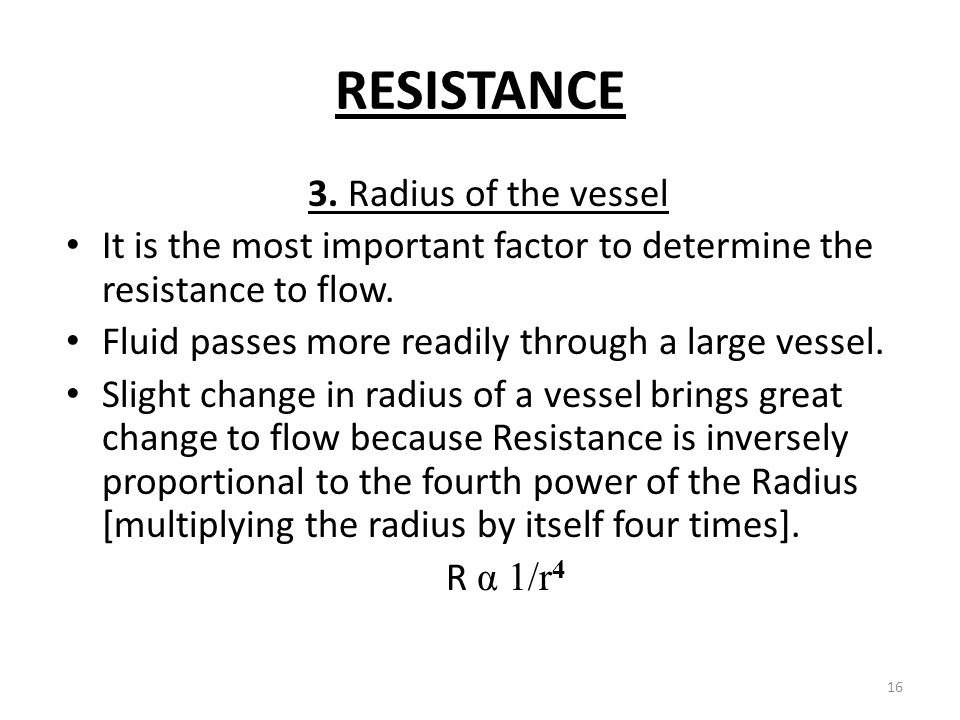 RESISTANCE 3. Radius of the vessel