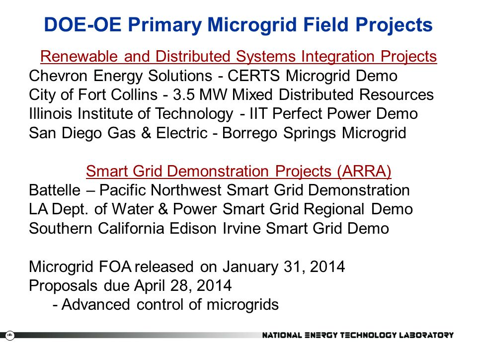 DOE-OE Primary Microgrid Field Projects